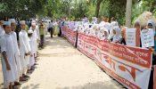 ব্রাহ্মণবাড়িয়ায় ভূমিদস্যুর বিরুদ্ধে মাদ্রাসা শিক্ষার্থীদের মানববন্ধন ও বিক্ষোভ